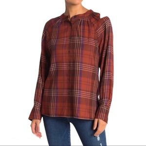 NWT Susina Red/Purple Plaid Button Down Blouse